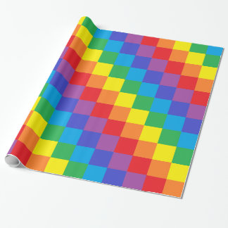 Squared Rainbow Wrapping Paper