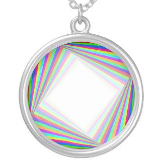 Squared Round Pendant Necklace