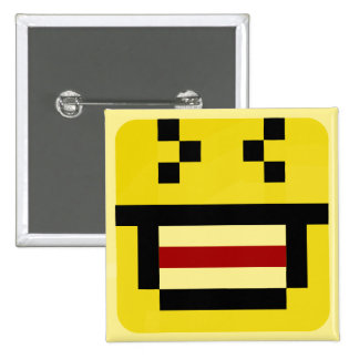 squared smiley big laugh 15 cm square badge