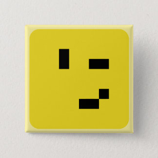 squared smiley wink 15 cm square badge