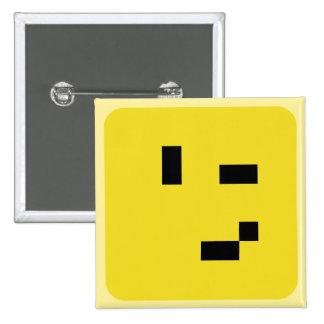 squared smiley wink 15 cm square badge