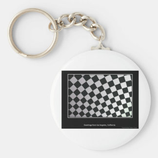 Squares black and white keychains