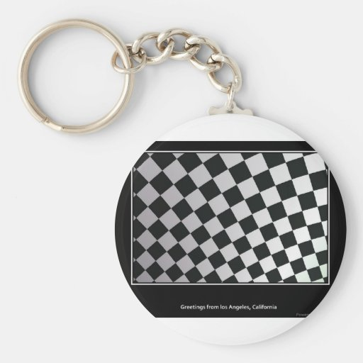 Squares black and white key chain