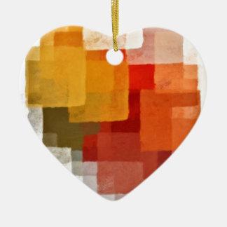 squares colorful paint pattern ceramic heart decoration