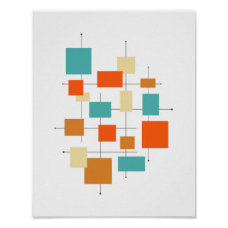 Squares Mid Century Modern Styled Poster