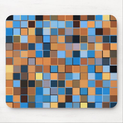 Squares of Blue and Browns Mousepad
