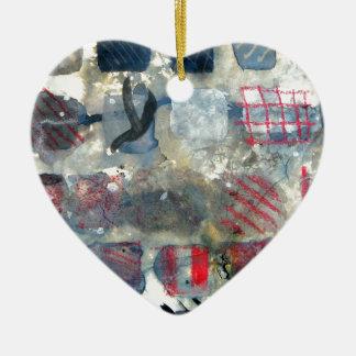 Squares of experimentation ceramic heart decoration
