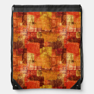 Squares on the grunge wall, abstract background drawstring bag