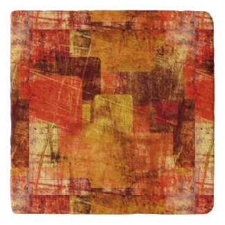 Squares on the grunge wall, abstract background trivet