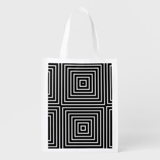 Squares optical illusion grocery bag