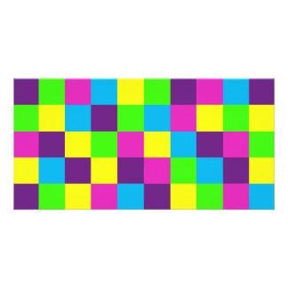 Squares Pattern Photo Card