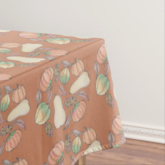 Squash Bounty Autumn Harvest Brown Background Tablecloth