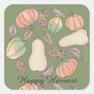 Squash Bounty Mabon Harvest Home Equinox Green Square Sticker