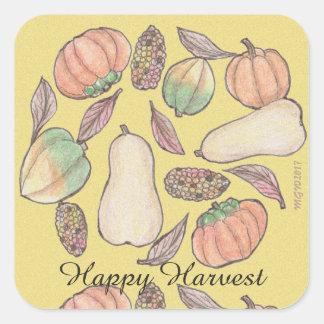 Squash Bounty Mabon Harvest Home Equinox Yellow Square Sticker
