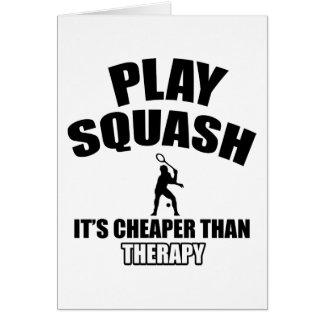 Squash player designs greeting card
