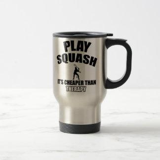 Squash player designs mugs