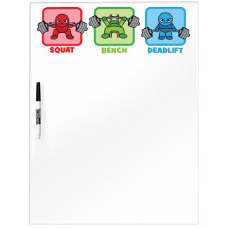 Squat, Bench Press, Deadlift - Kawaii Powerlifter Dry Erase Whiteboards