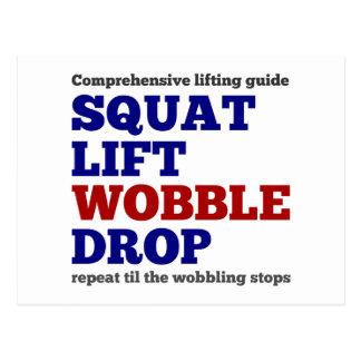 Squat lift wobble drop Gym motivation Postcard
