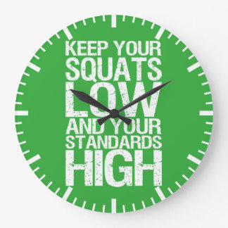 Squat Low - Bodybuilding Workout Motivational Large Clock