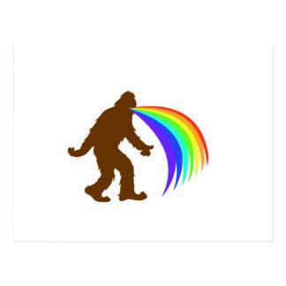 Squatch Barfing A Rainbow Postcard