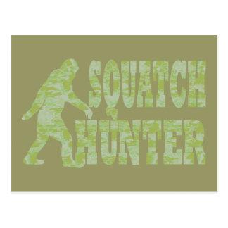 Squatch hunter on camouflage postcard