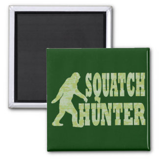 Squatch hunter on camouflage square magnet