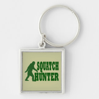 Squatch hunter Silver-Colored square key ring