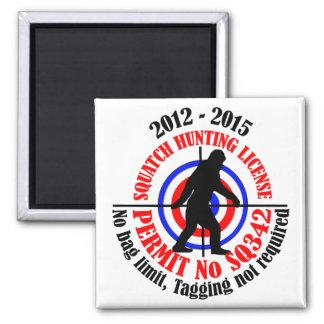 squatch hunting permit square magnet