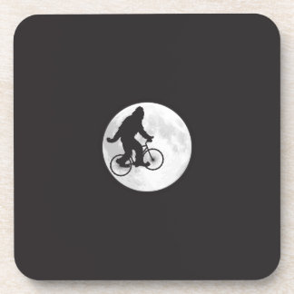 Squatch on a Bike In Sky With Moon T-shirt Beverage Coaster