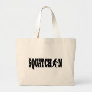 Squatchin, black text jumbo tote bag