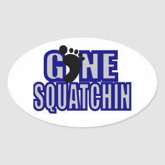 Squatchin Blue and lt Gray Logo Oval Stickers