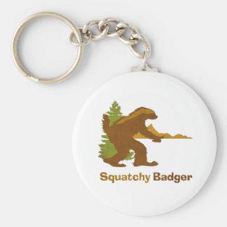 Squatchy Badger (vintage) Basic Round Button Key Ring