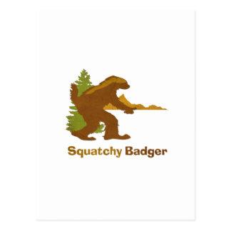 Squatchy Badger vintage Post Card