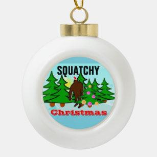 squatchy christmas bigfoot tacky christmas ceramic ball christmas ornament - Bigfoot Christmas Ornament
