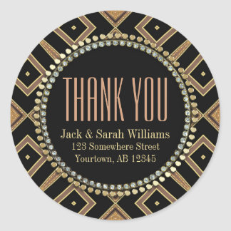 Squaza Art Deco Gold Black ThankYou Round Stickers