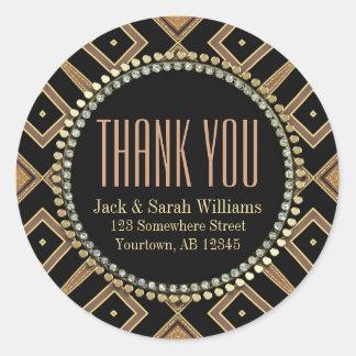 Squaza Art Deco Gold Black ThankYou Round Stickers