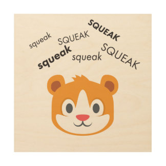 Squeak Hamster Cute Emoji Wood Prints