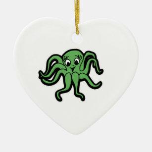 squid kid green christmas ornament