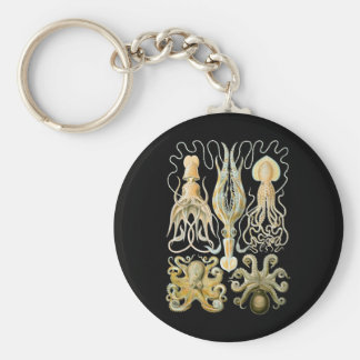 Squid & Octopus Basic Round Button Key Ring