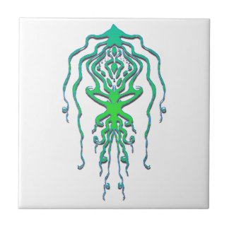 Squid Octopus Tribal Tattoo - green Small Square Tile
