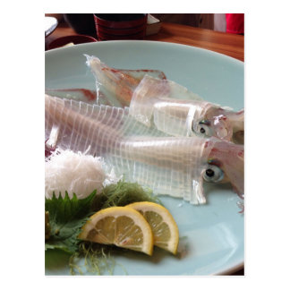 Squid Sashimi Japanese Meal Serving Lunch Dinner Postcard