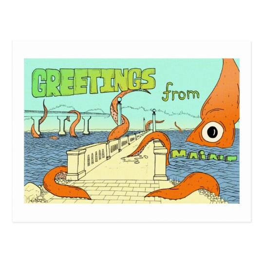 Squid vs Belfast, ME Postcard