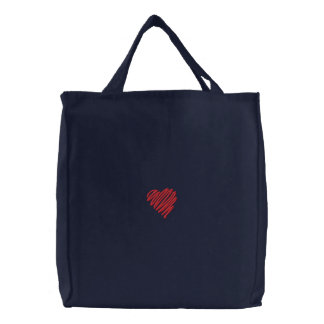 Squiggle Heart Embroidered Bag