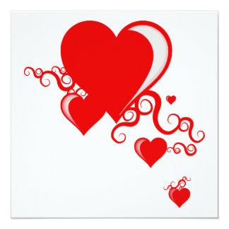 squiggle hearts 13 cm x 13 cm square invitation card