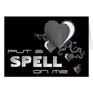 squiggle hearts. put a spell on me. greeting card