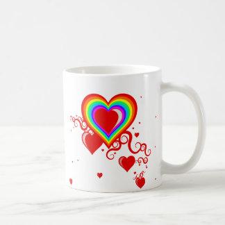 squiggle hearts. rainbowz. coffee mug