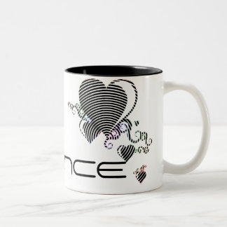 squiggle hearts. trance. Two-Tone coffee mug