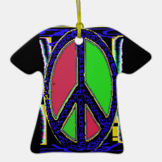 Squiggle Peace Sign Double-Sided T-Shirt Ceramic Christmas Ornament