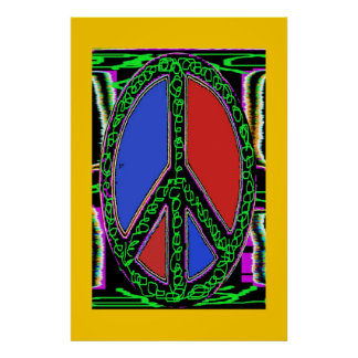 Squiggle Peace Sign Posters
