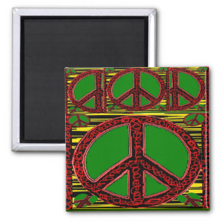 Squiggle Peace Sign with Heart Magnets